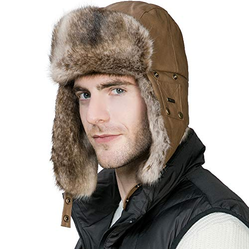 (Mens Winter Trapper Hunting Hat Ear Flaps Faux Leather Fur Russian Ushanka Cold Weather Ski Bomber Women Brown)