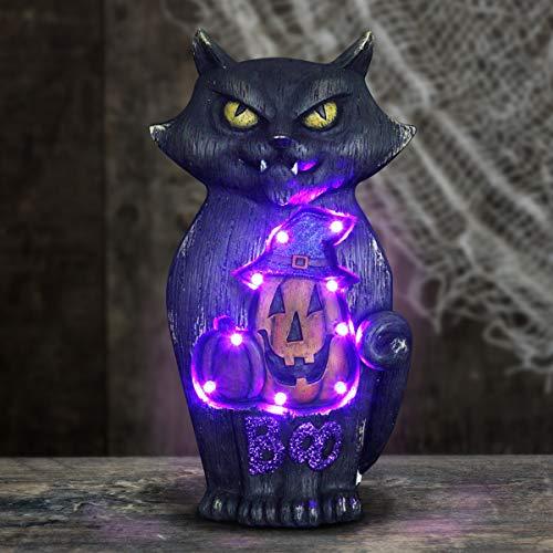Exhart Black Cat Marquee Halloween Statue, Inset Jack O Lantern, Purple LED Lights, 15