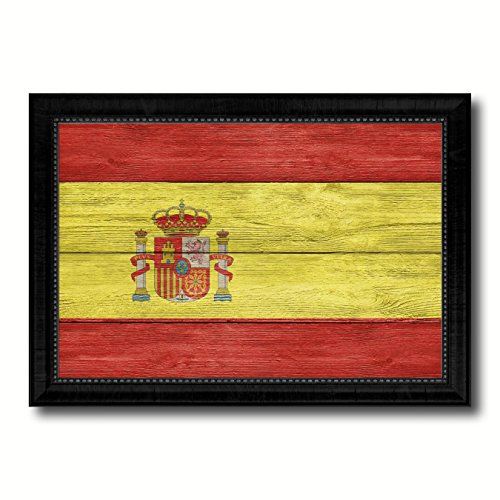 Spain Country Flag Texture Canvas Print, Wood Grain Black Picture Frame Gift Ideas Home Decor Wall Art Decoration by SpotColorArt
