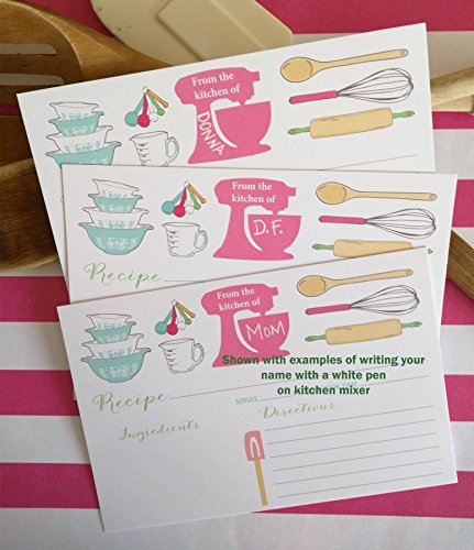 Recipe Cards 4x6 - 13 The Pink Mixer Recipe Card. Recipe Cards have lines on the back for addtional information