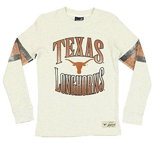 Outerstuff NCAA Texas Longhorns Youth Boys (8-20) Long Sleeve Henley Shirt, Cream