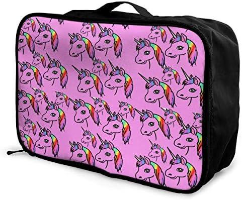 Travel Luggage Duffle Bag Lightweight Portable Handbag Unicorn Large Capacity Waterproof Foldable Storage Tote