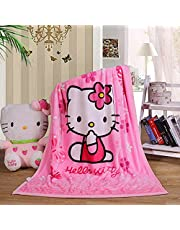 """Hello Kitty Blanket for Kids Girls & Adults, Cartoon Printing Fluffy Fleece Throw, 40""""x55"""" All Seasons Flannel Fleece Blanket, Sherpa Soft & Malleable Plush Blankets for Couch Sofa Bed Camping Travel"""