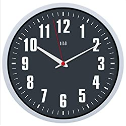 hito Silent Wall Clock Non Ticking 12 inch Excellent Accurate Sweep Movement, Modern Decorative for Kitchen, Living Room, Bathroom, Bedroom, Office (Gray red Hand)