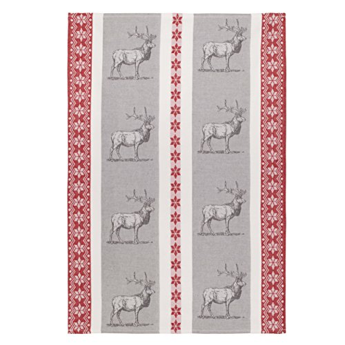 Coucke French Cotton Jacquard Towel Farm Animal Collection, Le Cerf (Deer), FB Rouge, 20-Inches by 30-Inches, Gray and Red by COUCKE