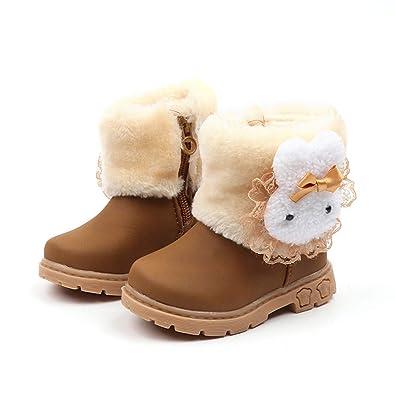 a6416ea3e0b32 Transer Chaussure pour Enfants Mode Enfants Filles Bottes de Neige Bébé Fourrure  Doublé Antidérapant Bottes d
