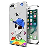 for iPhone 7 Plus 8 Plus Case Clear with Funny Cute Alien Design for iPhone Case 5.5' for Girls Men Women Boys Ultra Thin Flexible Protective TPU Phone Cover Anti-Drop-Scratch Shockproof