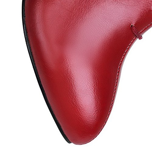 Womens High Red Soft Zipper Pointed Heels AllhqFashion Low Closed top Material Boots Toe f7d7RqU