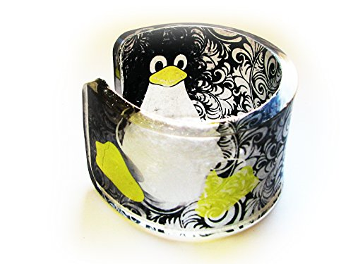 - 1 chunky Transparent Clear Acrylic Resin Epoxy Lucite Plexiglass Bracelet Cuff Bangle with hand printed art - Penguin Linux Tux graphic