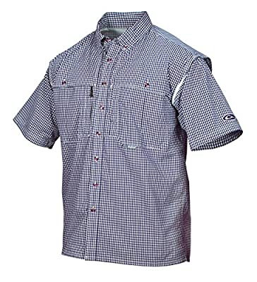 Drake Waterfowl Men's Wingshooter's Game Day Plaid S/S Shirt, Navy, Large