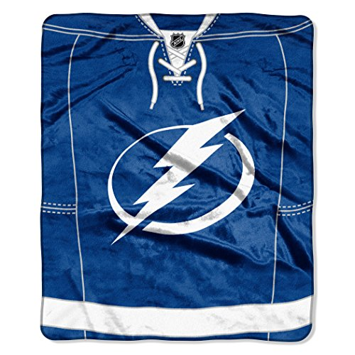Officially Licensed NHL Tampa Bay Lightning Jersey Plush Raschel Throw Blanket, 50
