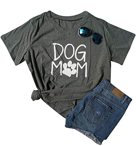 Womens Dog Mom Print Short Sleeve V-Neck T-Shirt Funny Dog Paw Print Tee Blouse Size S (Gray)