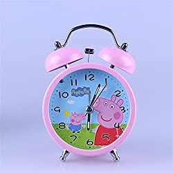 YOURNELO Kid's Cute Cartoon Peppa Pig Peggy George Decorative Desk Alarm Clock Daily Alarms Ornaments Gifts (Peggy Blue 1)