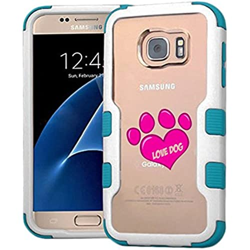 Galaxy S7 Case Love Dog, Extra Shock-Absorb Clear back panel + Engineered TPU bumper 3 layer protection for Samsung Galaxy S7 (New 2016) Blue Cover (Love Sales