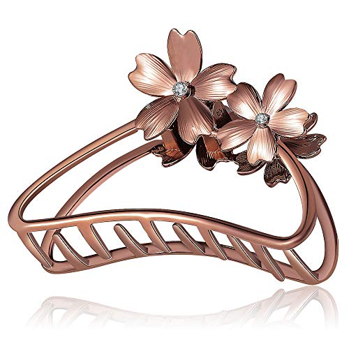 ACCGLORY Rose Gold Flower Metal Hair Clips Hairgrip Strong Non-Slip Hair Barrette For Women Thick Hair (Flower-Red Bronze)