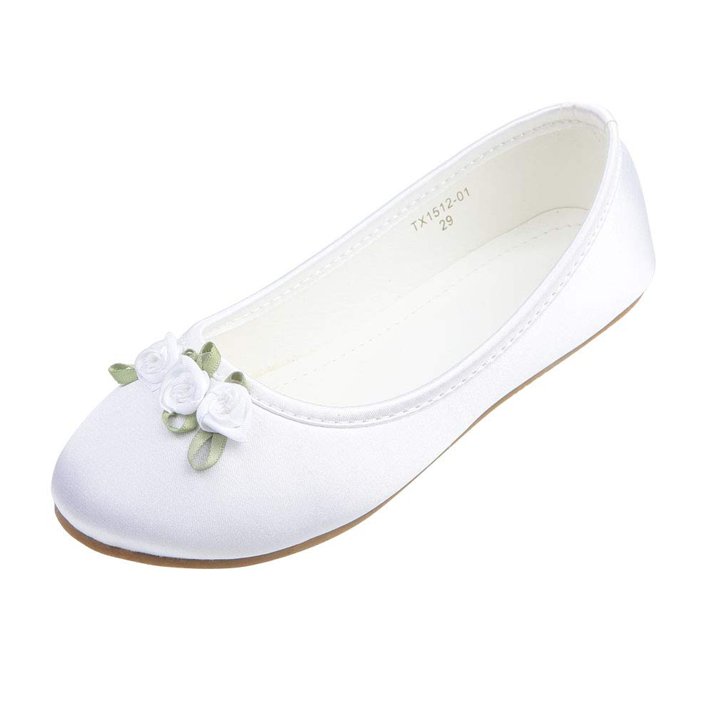 AISLE STYLE Ballerina Non-slip Flower Girl Princess Dress Shoes School Party Wedding Ballet Flats Toddler Size 8White