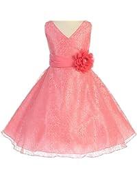 Little Girls V Neck All Over Lace Chiffon Belt Flowers Girls Dresses