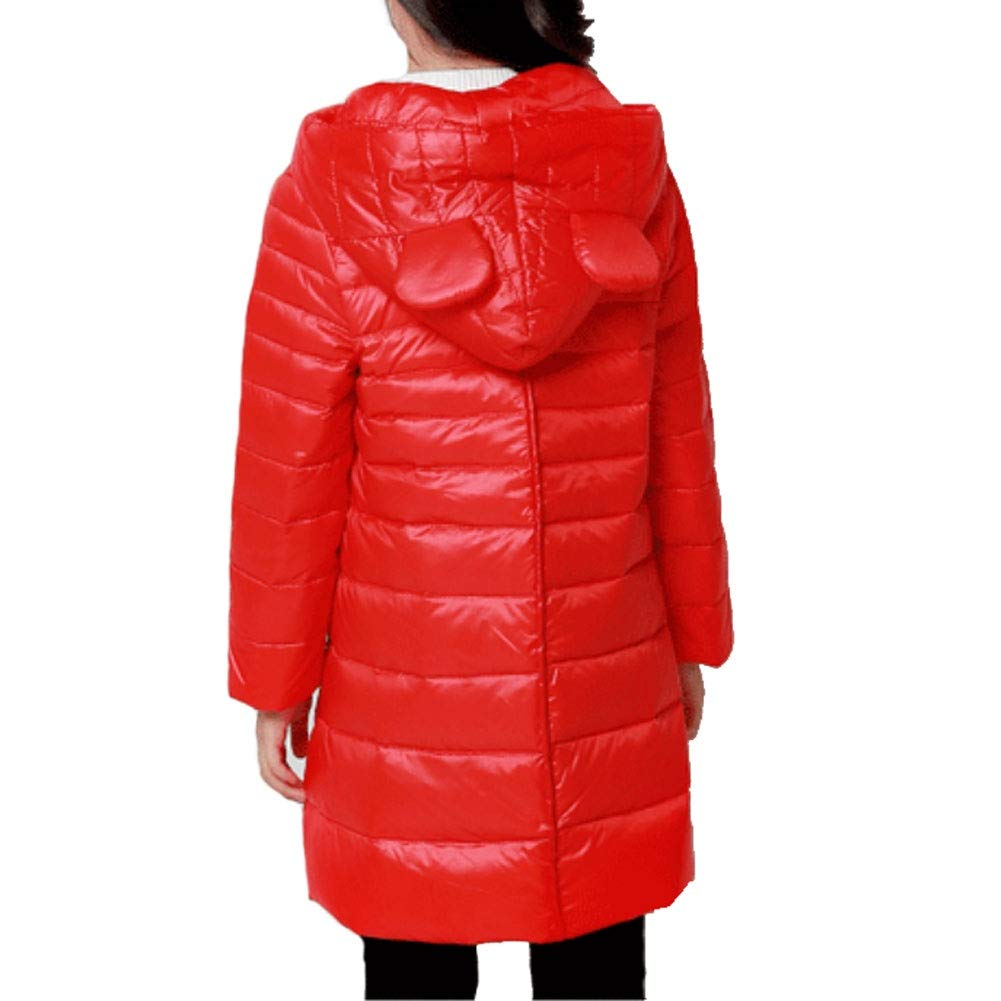 Childrens Down Jacket Autumn and Winter Warm Lightweight Girls in The Big Childrens Long Hooded Down Jacket