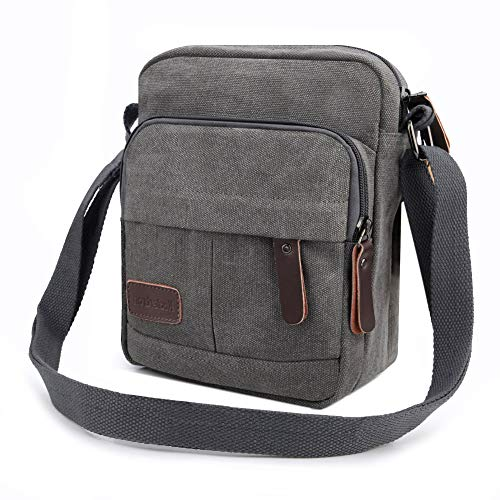 Koolertron Men Shoulder Bag Small Retro Canvas Satchel Zipped Unisex  Lightweight Long Strap Crossbody Travel Messenger Bags for Phone iPad Mini  Kindle (Grey ... 047e9d0bec8d8