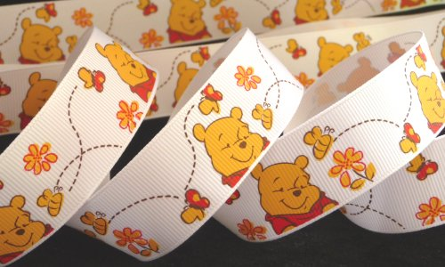 1 inch Winnie the POOH bear honey bees flower on white Disney grosgrain RIBBON ~ 1 Yd Long ~ hair tie headband wrap gifts bows crafts -