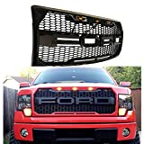 Front Grille Fits 2009-2014 FORD F150 Raptor Style Grill Kits With Amber LED Light and F&R Letter (Gloss Black)