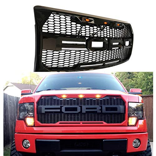 Front Grille Fits 2009-2014 FORD F150 Raptor Style Grill Kits With Amber LED Light and Conversion Letter (Gloss Black)