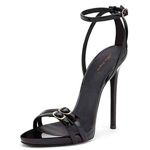 c1a3965cb663 NJ Women Sexy Open Toe Stiletto High Heels Dress Sandals Ankle Strap Buckles  Glossy Patent Evening