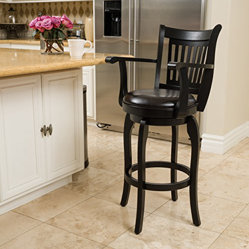 Brook Armed Espresso Leather Swivel Barstool (Armed Bar Stool)