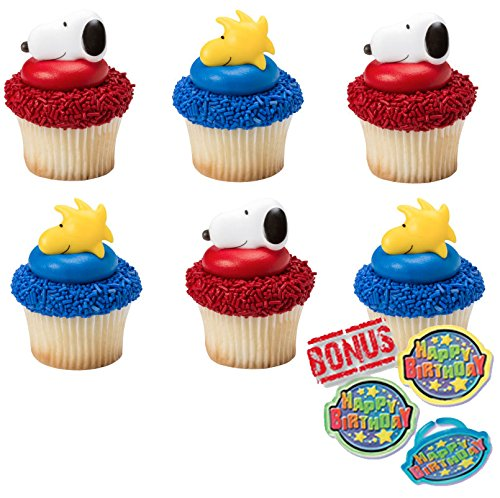 Peanuts Snoopy and Woodstock Cupcake Toppers and Bonus Birthday Ring - 25 piece