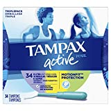 TAMPAX Pearl Active Tampons Plastic Triple-Pack Light/Regular/Super Absorbency Unscented, 34 Count,packaging may vary