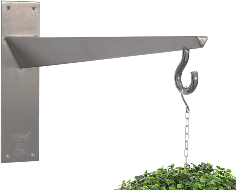 Braax Hangtec Tetrahedron Ht 2a09 Stainless Steel Wall Bracket Hook Hanger For Hanging Baskets Bird Feeders Topiary Balls Lights Lanterns Wind Chimes Or Similar Amazon Co Uk Garden Outdoors