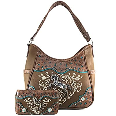 Justin West Western Embroidery Horse Turquoise Concho Rhinestone Studded Shoulder Tote Handbag Purse Wallet