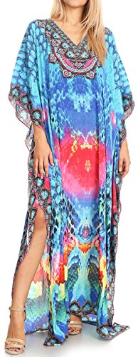 Neck Anahi with turq 17179 Design Cover Dress Long Rhinestone Sakkas Flowy Pink Up Caftan V IHdxvIpqw