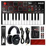 Akai Professional MPK Mini Play Compact Keyboard and Pad Controller + Headphones + Pedal + Deluxe Accessory Bundle