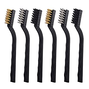 Tubala Mini Wire Brush Set for Cleaning Welding Slag and Rust, Nylon, Brass and Stainless Steel, 6 Pieces