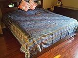 Handmade 100% Cotton Dabu Hand Block Print Tapestry Tablecloth Bedspread Coverlet Dorm Decor Beach Sheet Blue Full