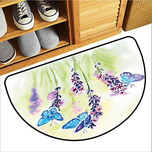 (Axbkl Entrance Door mat Lavender Summer Field Natural Wildlife Themed Watercolor Artwork with Butterflies Machine wash/Non-Slip W30 xL18 Blue Purple Green )