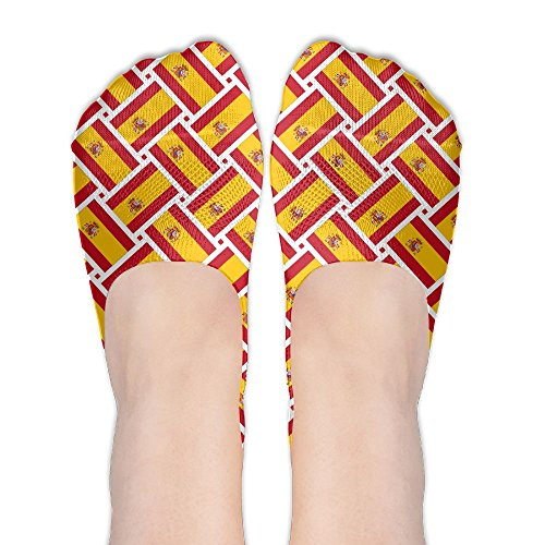 Spain Flag Weave No Show Socks Boat Socks Non Slip Flat Boat Line For Dancing,Yoga,Daily - To Usps Spain Shipping