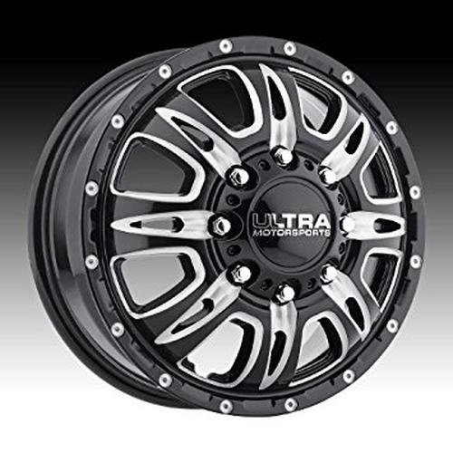 """UPC 842210062238, Ultra Wheel 049BM Predator Dually Gloss Black with CNC Milled Accents and Clear-Coat Wheel (17x6.5""""/8x210mm, +129mm offset)"""
