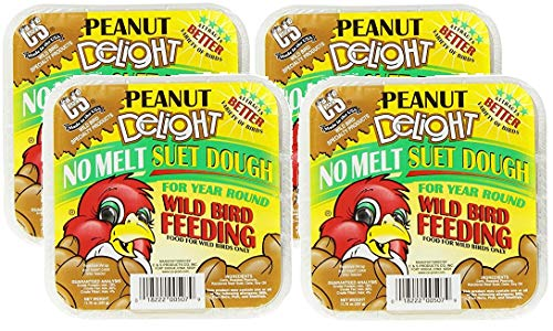 C&S Products Company C&S 4 Pack of Peanut Delight Wild Bird No Melt Suet Dough, 11.75 Ounces Each