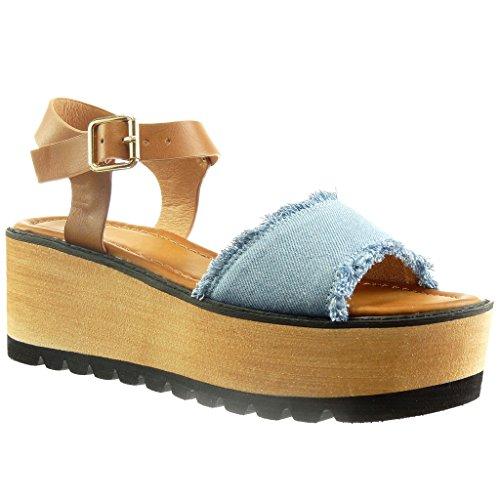 Angkorly - Zapatillas de Moda Sandalias zapatillas de plataforma abierto mujer Talón Plataforma 6 CM - Azul