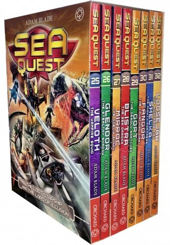 Sea Quest Series 7 and 8 Collection Adam Blade 8 Books Box Set (Book 25-32) (Veloth the Vampire Squid, Glendor the Stealthy Shadow, Mirroc the Goblin Shark, Blistra the Sea Dragon, Gort the (Sea Quest Adam Blade)