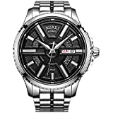 BUREI Men's Automatic Wrist Watches with Black Dial Metal Band