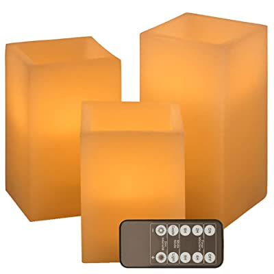 "Flickering Flameless Candles Battery Operated, Led Candle Set of 3 (D 3"" x H 3"" 4"" 5"" 6"") Square Ivory Wax and Amber Yellow Flame, auto-Off Timer Remote Control, Large Fake Battery Powered Candles: Home Improvement"