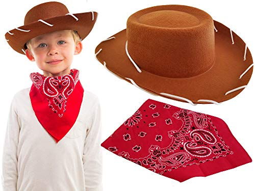 Brown Cowboy Hat with Western Bandanna Dress Up Woody Costume for Kids Boys Girls Toddler Toy Story, Best Accessories Holloween, Christmas, Birthday, School and Horse Party Theme -