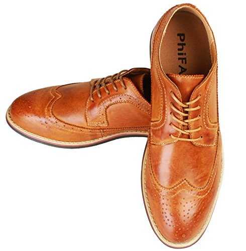 PhiFA Men's Distressed Genuine Leather Wingtips Oxfords Lace-UPS US Size 11 Brown
