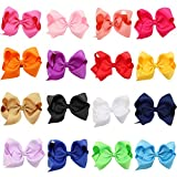 Miuance 16 pcs 5'' Baby Girls Ribbon Hair Bow Clips Printed Pattern Barrettes for Girl Teens Kids Babies Toddlers