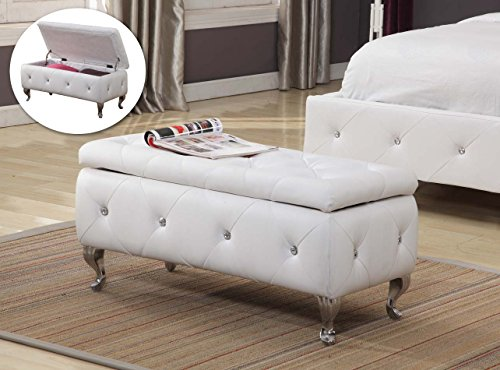 Kings Brand Furniture B5104-BE Bench, White