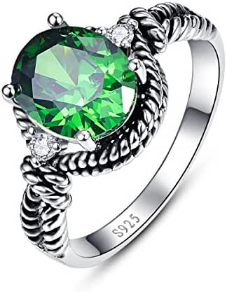 Bonlavie Women's 4.35ct Oval Cut Created Green Emerald Cubic Zirconia 925 Sterling Silver Cocktail Ring