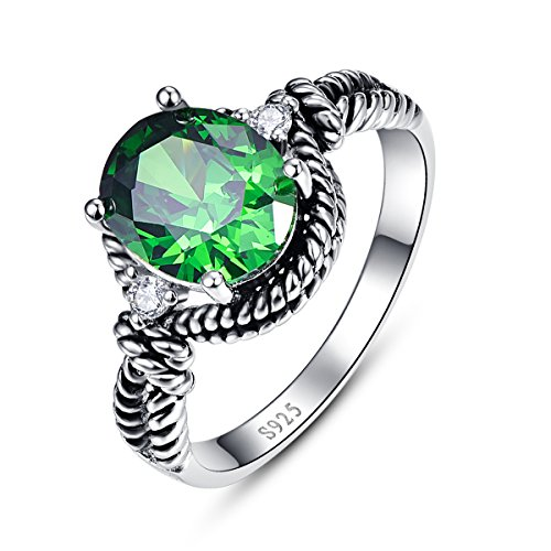 BONLAVIE Solid 925 Sterling Silver Created Emerald Engagement Ring for Women Black Silver Size 8